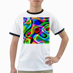 Digital Multicolor Colorful Curves Ringer T Shirts