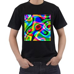 Digital Multicolor Colorful Curves Men s T Shirt (black) (two Sided)