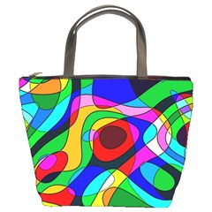 Digital Multicolor Colorful Curves Bucket Bags by BangZart