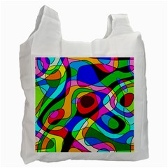 Digital Multicolor Colorful Curves Recycle Bag (one Side)