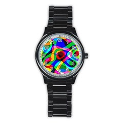 Digital Multicolor Colorful Curves Stainless Steel Round Watch