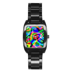 Digital Multicolor Colorful Curves Stainless Steel Barrel Watch by BangZart