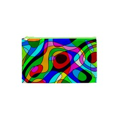 Digital Multicolor Colorful Curves Cosmetic Bag (xs)