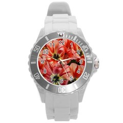 Tulips Flowers Spring Round Plastic Sport Watch (l)