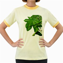 Plant Berry Leaves Green Flower Women s Fitted Ringer T Shirts