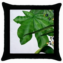 Plant Berry Leaves Green Flower Throw Pillow Case (black) by BangZart