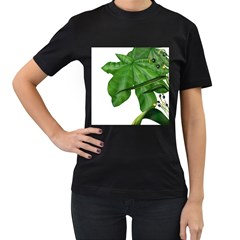 Plant Berry Leaves Green Flower Women s T Shirt (black) (two Sided)