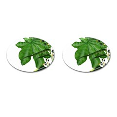 Plant Berry Leaves Green Flower Cufflinks (oval)