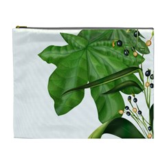 Plant Berry Leaves Green Flower Cosmetic Bag (xl)