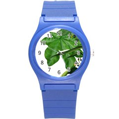 Plant Berry Leaves Green Flower Round Plastic Sport Watch (s) by BangZart