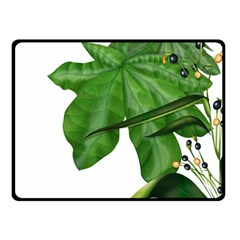 Plant Berry Leaves Green Flower Double Sided Fleece Blanket (small)  by BangZart