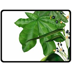 Plant Berry Leaves Green Flower Double Sided Fleece Blanket (large)  by BangZart