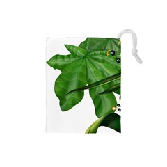Plant Berry Leaves Green Flower Drawstring Pouches (small)  by BangZart