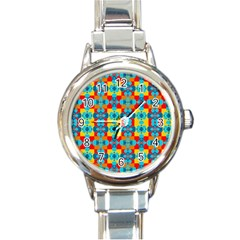 Pop Art Abstract Design Pattern Round Italian Charm Watch