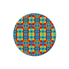 Pop Art Abstract Design Pattern Rubber Coaster (round)