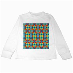 Pop Art Abstract Design Pattern Kids Long Sleeve T Shirts