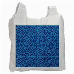Monogram Blue Purple Background Recycle Bag (one Side)