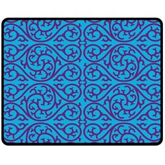 Monogram Blue Purple Background Fleece Blanket (medium)