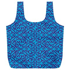 Monogram Blue Purple Background Full Print Recycle Bags (l)