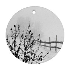 Snow Winter Cold Landscape Fence Ornament (round) by BangZart