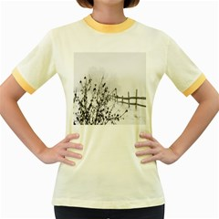 Snow Winter Cold Landscape Fence Women s Fitted Ringer T Shirts
