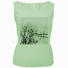 Snow Winter Cold Landscape Fence Women s Green Tank Top