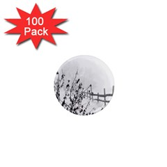 Snow Winter Cold Landscape Fence 1  Mini Magnets (100 Pack)