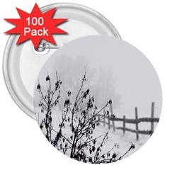 Snow Winter Cold Landscape Fence 3  Buttons (100 Pack)