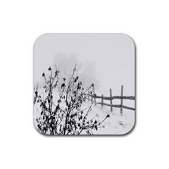 Snow Winter Cold Landscape Fence Rubber Coaster (square)