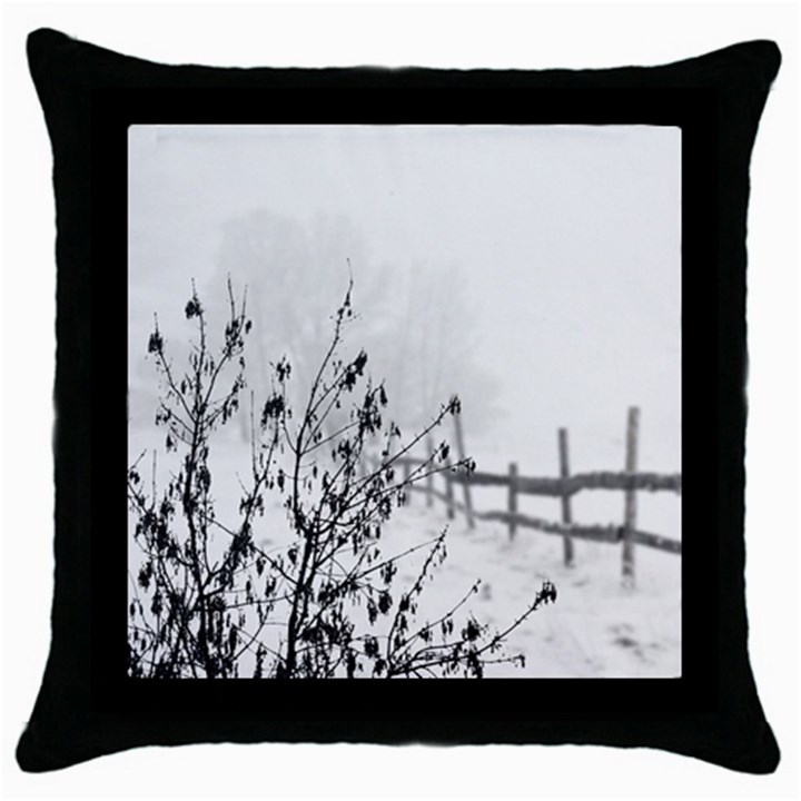 Snow Winter Cold Landscape Fence Throw Pillow Case (Black)