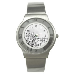 Snow Winter Cold Landscape Fence Stainless Steel Watch