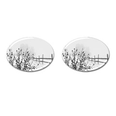 Snow Winter Cold Landscape Fence Cufflinks (oval) by BangZart