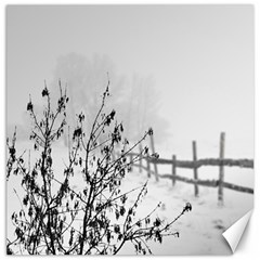 Snow Winter Cold Landscape Fence Canvas 16  X 16
