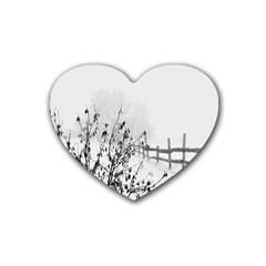 Snow Winter Cold Landscape Fence Rubber Coaster (heart)