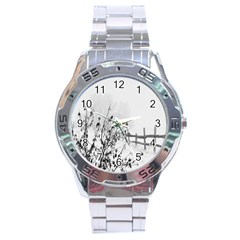 Snow Winter Cold Landscape Fence Stainless Steel Analogue Watch