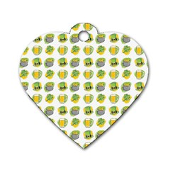 St Patrick S Day Background Symbols Dog Tag Heart (one Side)