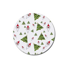 Christmas Santa Claus Decoration Rubber Round Coaster (4 Pack)  by BangZart