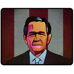 George W Bush Pop Art President Usa Fleece Blanket (medium)  by BangZart