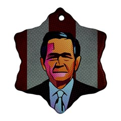 George W Bush Pop Art President Usa Snowflake Ornament (two Sides) by BangZart