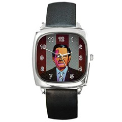 George W Bush Pop Art President Usa Square Metal Watch