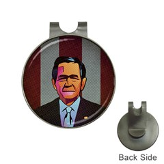 George W Bush Pop Art President Usa Hat Clips With Golf Markers
