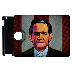 George W Bush Pop Art President Usa Apple Ipad 3/4 Flip 360 Case