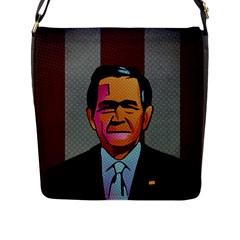 George W Bush Pop Art President Usa Flap Messenger Bag (l)