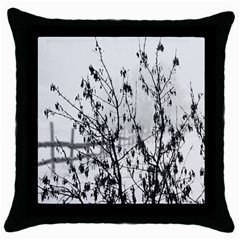 Snow Winter Cold Landscape Fence Throw Pillow Case (black) by BangZart