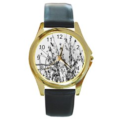 Snow Winter Cold Landscape Fence Round Gold Metal Watch by BangZart