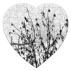 Snow Winter Cold Landscape Fence Jigsaw Puzzle (heart)