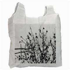 Snow Winter Cold Landscape Fence Recycle Bag (two Side)