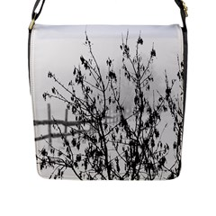 Snow Winter Cold Landscape Fence Flap Messenger Bag (l)  by BangZart