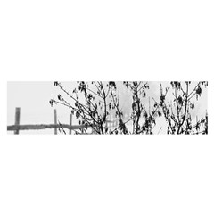 Snow Winter Cold Landscape Fence Satin Scarf (oblong)