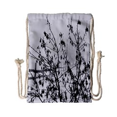Snow Winter Cold Landscape Fence Drawstring Bag (small)